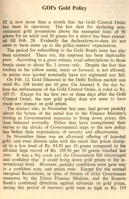 Pandit Deendayal's essay on Gold Control Rules, 1963 and the reasons behind its failure
