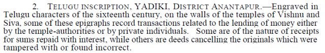 Inscription from Yadiki as noted by ASI review 1958-59
